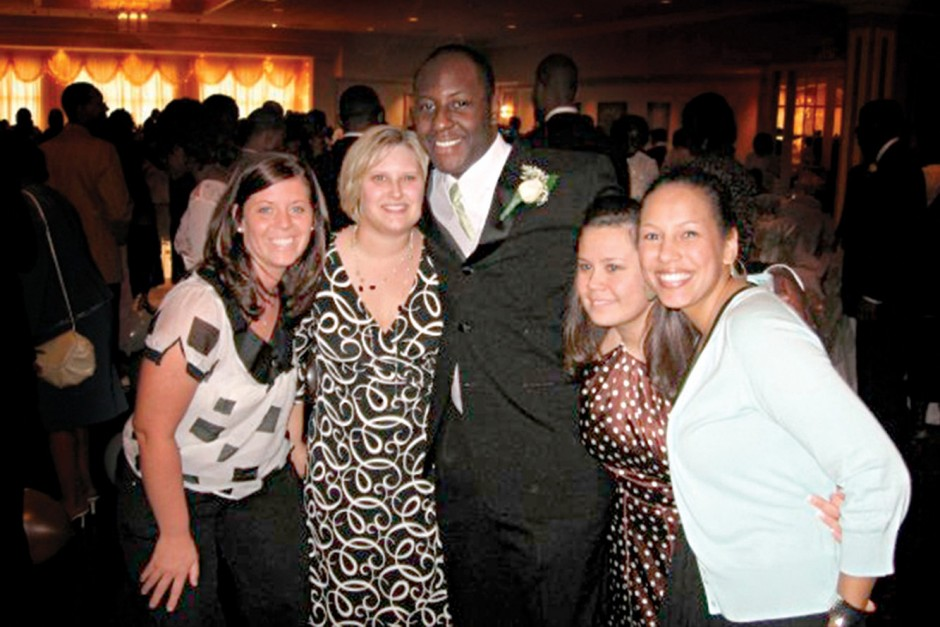 "A ""family"" reunion, left to right: Megan Pieper Wiltz '05, Stacy Denham '05, Justin Everage '05, Tia Bougher O'Brien '05, and Andrea Arzuaga '05."