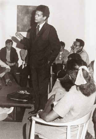 A young Julian Bond visits with Cornellians in The Commons in 1969.