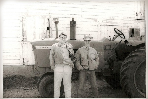 Robert Keen '67 (left) and David Meyer '67 in spring of their freshman year at Just-A-Mere farm in DeWitt, Iowa.