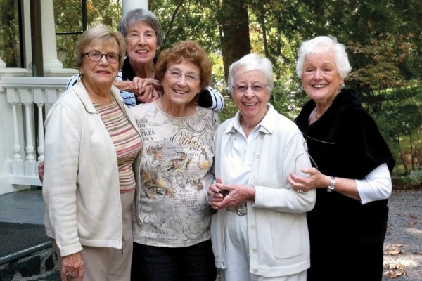 The Roodies Reunion in 2012 in Asheville, North Carolina, brought together Sally Baird Conde '52, Barbara Frey Duffus '52, Jo Shearer Bidle '52, Barbara Jackson Tade '52, and Jo Goetz Wasta '52 (from left).