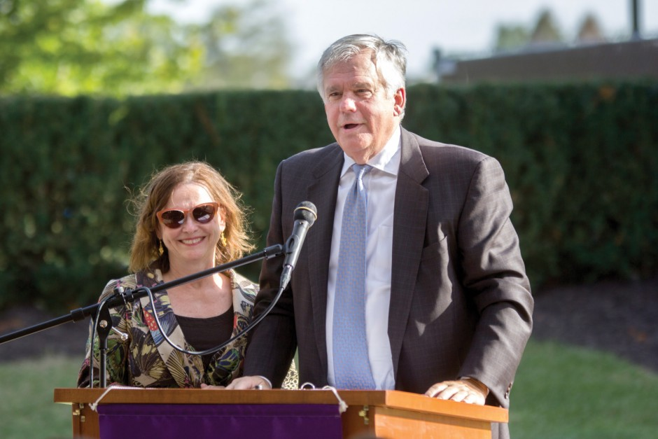 John Smith '71 and Dyan Smith, an honorary alumna, were honored at the dedication of Smith Hall in September.