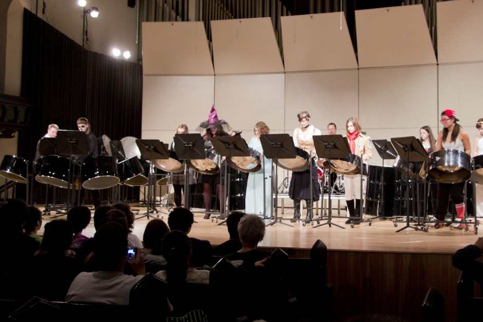 The Cornell College Steel Drum Ensembles performing a Halloween concert in 2013.