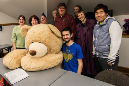 Professor Jim Freeman, members of his Modern Algebra 327 course, Patricia White '96, Liz Biermann '97, statistics professor Ann Cannon and mathematics professor Stephen Bean pose with Sir Alge-bear.