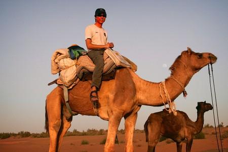 On a desert safari across the Thar Desert. Near Jaisalmer, Rajasthan, India.