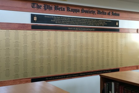 Cornell's Phi Beta Kappa plaque lists the names of all members elected to the chapter.