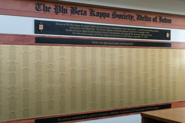 Names of all Cornellians elected to Phi Beta Kappa appear on a plaque in Cole Library.