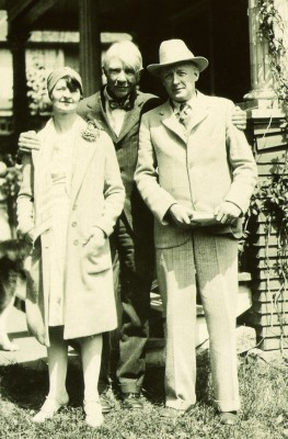 "Poet Carl Sandburg with English Professor Clyde ""Toppy"" Tull and his wife, Jewel. Sandburg visited the college annually from 1920 through 1939, and last came to campus in 1951."