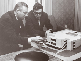Cornell President Arland Christ-Janer (left) and Architect Ben Weese with a model of The Commons, which opened in 1966.
