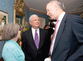 Becky Martin McClennan '64 and Bob McClennan '65 talk with former presidential advisor David Gergen during a reception before the 2010 Delta Phi Rho lecture.