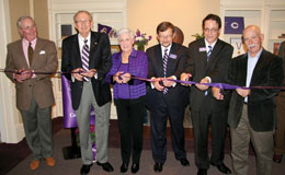 Cutting the ceremonial ribbon at the dedication of the Paul K. Scott Alumni Center, from left: R.K. Scott '63, Richard Small '50, honorary alumna Norma Small, Les Garner, Peter Wilch '94, and architect Ed Sauter. (Photo by Blake Rasmussen '05)