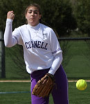 Junior Jill Trzaska pitches during the IIAC tournament in May.