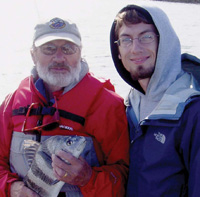 100th Cornell Fellow Ben Rees with John Mark Dean '58 at the Baruch Institute Marine Field Laboratory.