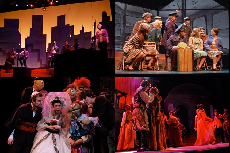 "Clockwise from top left: Recent performances on the Kimmel stage: ""Company,"" ""A Man of No Importance,"" ""Romeo and Juliet,"" and ""Avenue Q."" Photos by Jenny Kelchen"