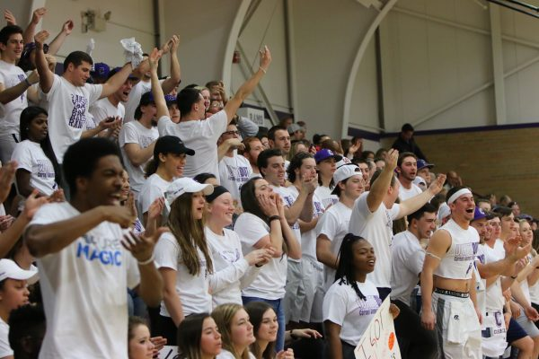 Students show their spirit at a women's basketball game