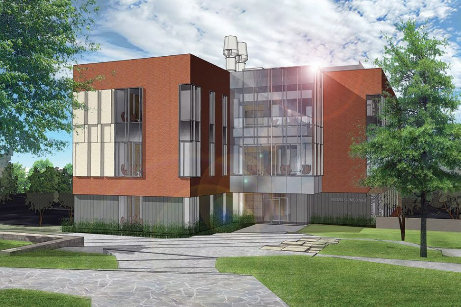 A front view of the future Russell Science Center. The pedestrian mall will extend to meet the facility and create a new east entrance to campus.