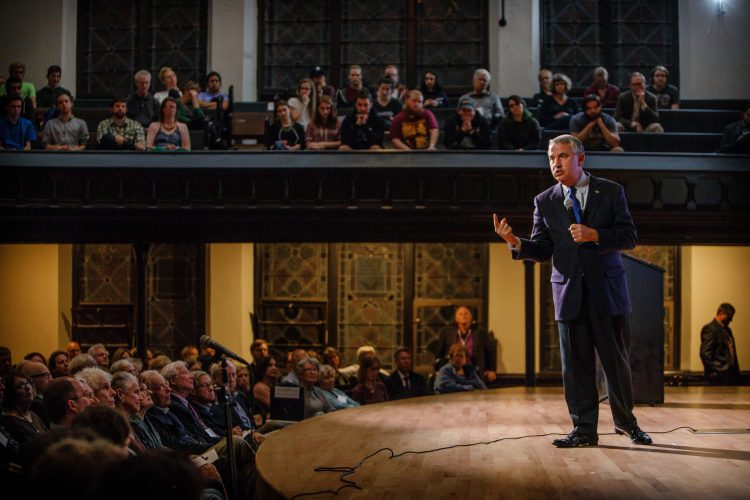 Pulitzer Prize-winning New York Times columnist Thomas Friedman spoke of how to thrive in an age of dizzying acceleration in November as Cornell College's 2016 Delta Phi Rho lecturer. Photo by Robyn Schwab Aaron '07. WEB EXTRA: See a video clip from Friedman's speech in King Chapel at crnl.co/friedman