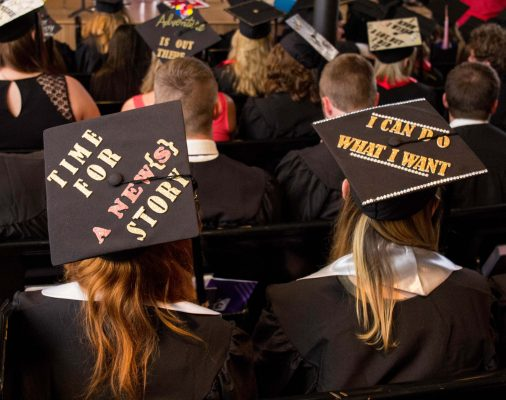 2016 graduates showed their pride by decorating their mortarboards.