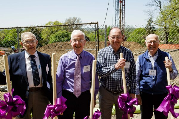 Professors emeritus Bill Deskin, Truman Jordan, Cot Graber, and Addison Ault (from left) were on campus to celebrate the groundbreaking of Russell Science Center.
