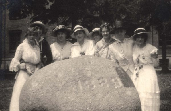 An early photo of The Rock with students.