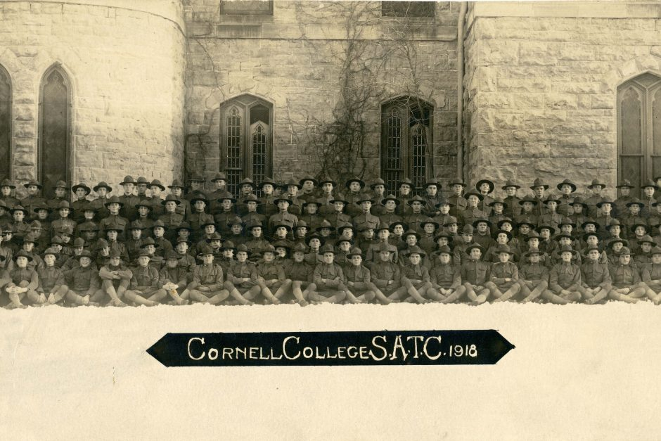 Cornell's Student Army Training Corps sits for a photo in front of King Chapel.