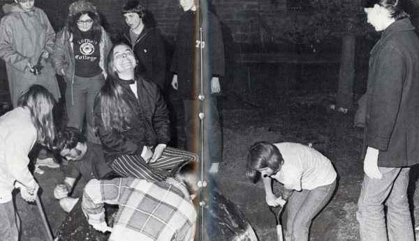 The 1971 Royal Purple exposed students who worked with Marta Wherry Mathatas '74 (not shown) to successfully move The Rock across campus.