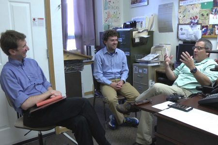 Professor Hans Hassell and Zach Stoll '18 meet with Jake Krob 1