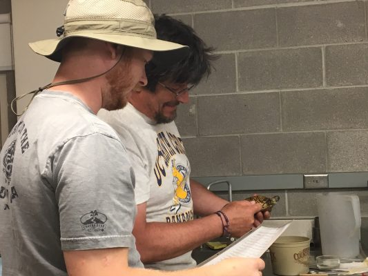 Professor Andy McCollum works with Gabe Bizovi '19