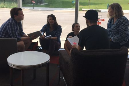 Students work on CSRI project in the Cedar Rapids Public Library