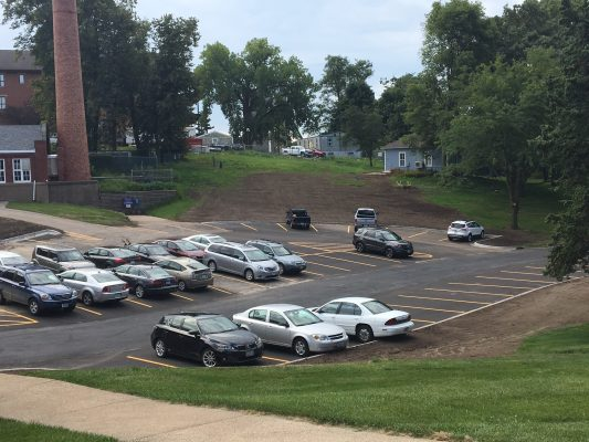 Picture of new Cole Library Parking lot