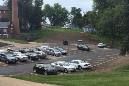 Picture of the newly renovated Cole Library parking lot