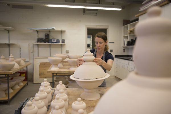 """Scodella da Impagliata"" is a ceramic art exhibition of new work by Professor of Art Susannah Biondo-Gemmell."