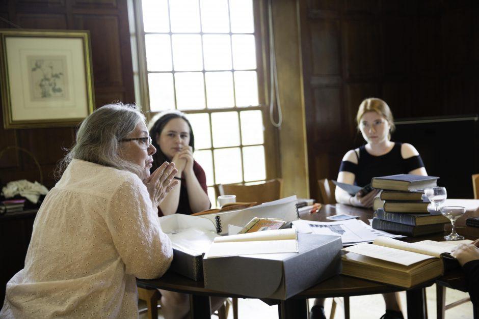 Maureen Sullivan '18, Emma Jean Meyer '19, Jessica Halter '18 , and Professor Leslie Kathleen Hankins work in the Van Etten-Lacey House. 20