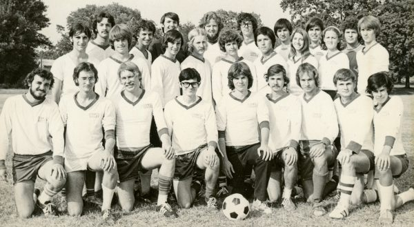 The 1976 men's soccer team, which provided the first varsity play for women, included Anne Read Tracey '79 and Cindy Bushey '79 (middle row, second and third from right, respectively).