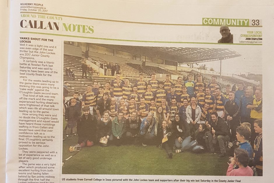 Cornell students in Kilkenny paper