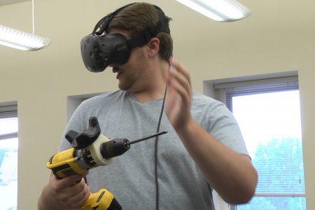 Nicholas Bieno shows off his Virtual Reality Surgical Simulator