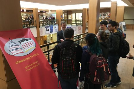 """Students answer trivia questions during """"Germany Meets the U.S. Week"""" 2016"""