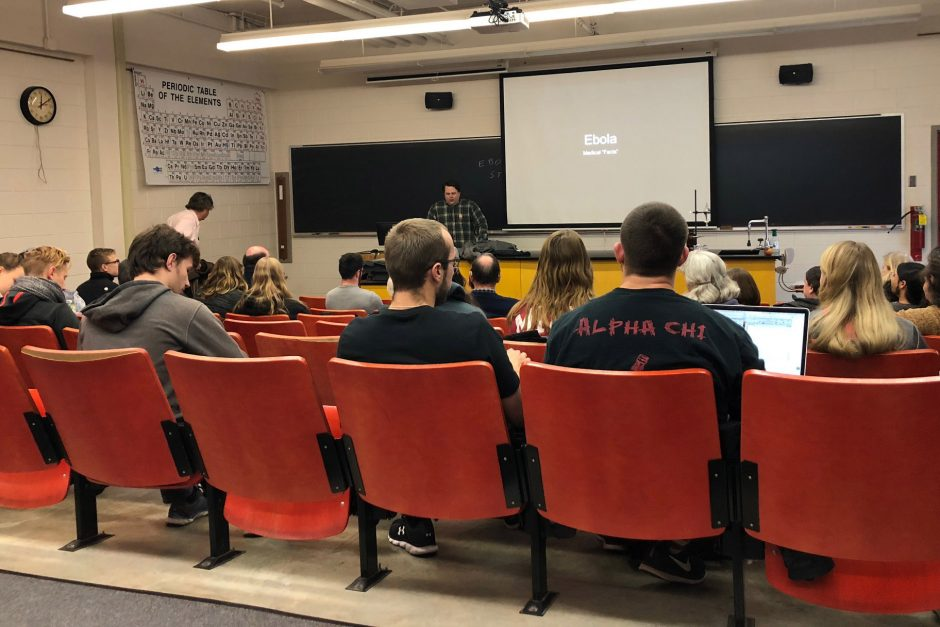 Vickstrom talks about Ebola with students