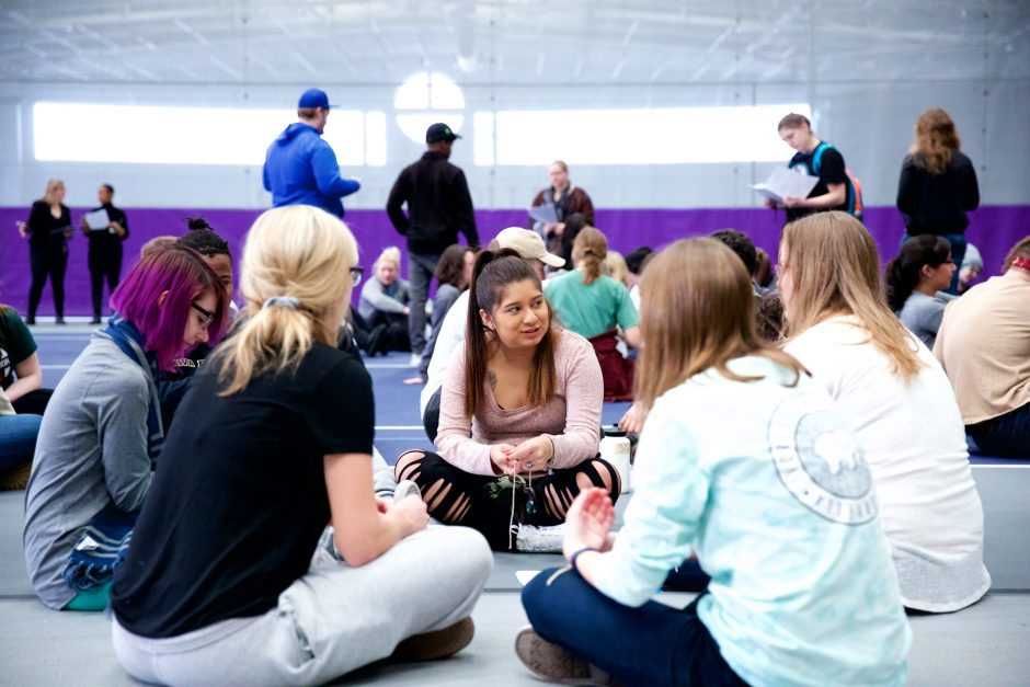 Students participate in a refugee simulation