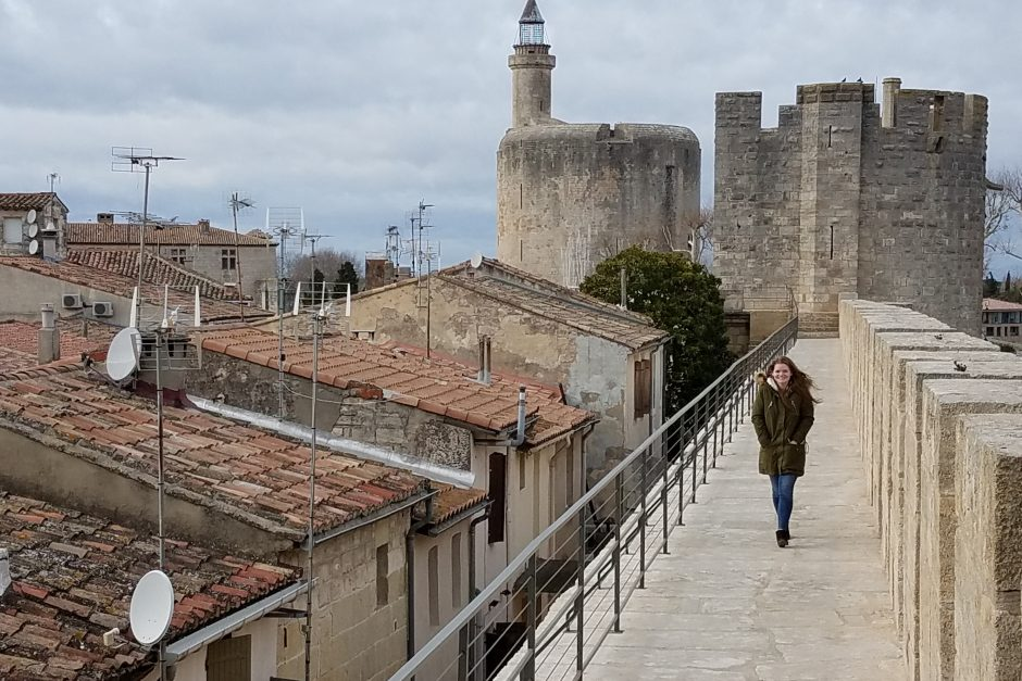 Walking around the late 13th century ramparts of Aigues-Morte, a city built by King Louis IX as a port of departure for his crusades.