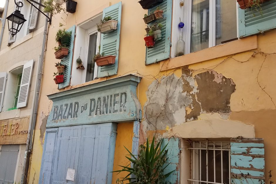 A picturesque storefront in the Panier district of Marseille