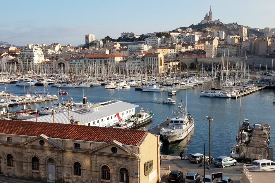 This is the view looking across the Old Port of Marseille towards the Notre Dame de la Garde Basilica.