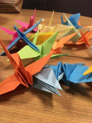 photo of origami paper cranes