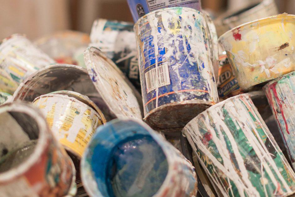 Empty paint cans in Hugh Lifson's studio
