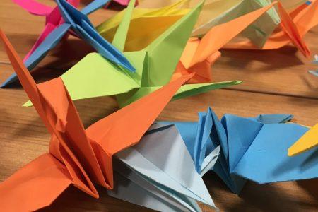 Several origami paper cranes