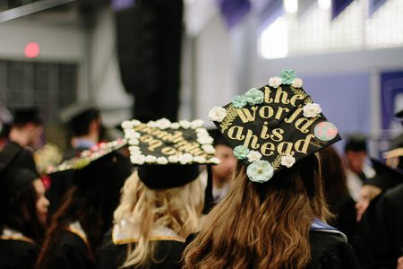 Photo of Graduation cap on student