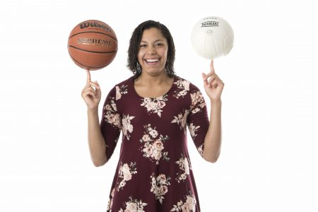 Photo of Diamond Boyd with a basketball and volleyball.