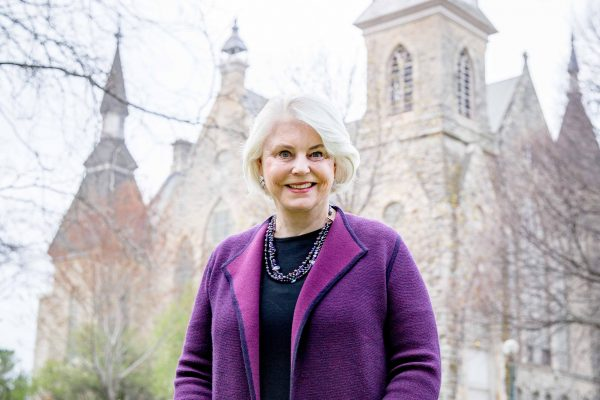 King Chapel's iconic clock tower, and the rare 1882 Seth Thomas clock it houses, will continue ringing the hours  because of a lead gift from Linda Webb Koehn '66 and her husband, honorary alumnus Thomas K. Koehn.