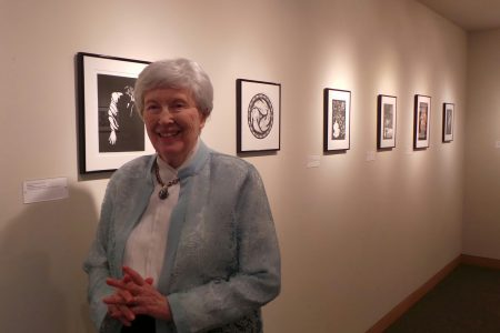 Nancy Price with her illustrations in Hearst gallery
