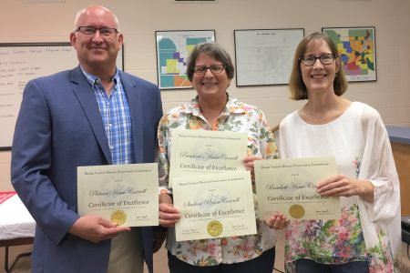 From left: Jeff Streitz, Cornell director of facility services, Leah Rogers, chair of the commission, and Dee Ann Rexroat '82, Cornell director of communications.