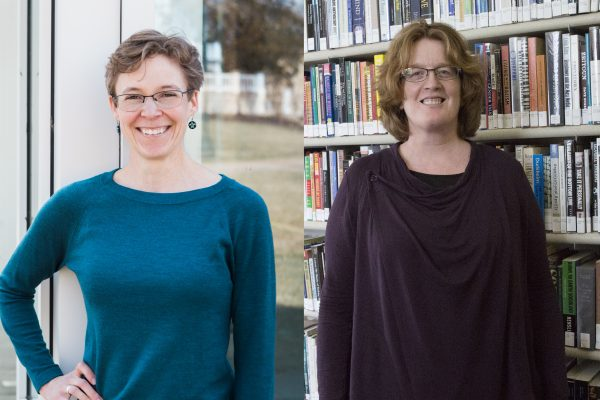 Professor of Geology Emily Walsh (left) and Professor of Sociology Erin Davis (right)